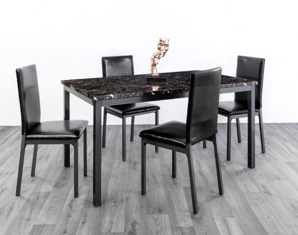 Rube Marble Effect Table & 4 Chairs